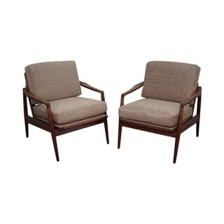 Mid-Century Solid Walnut Lounge Arm Chairs - A Pair