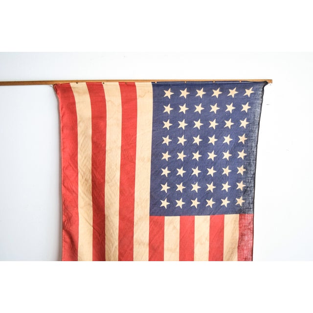 Image of 48 Star American Flag on Wooden Flagpole