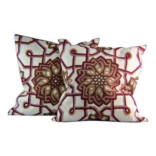 Kim Seybert Crewel Embroidered Throw Pillows - A Pair