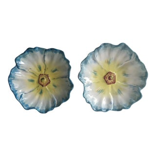 Vintage Faience Blue Poppy Dishes - a Pair