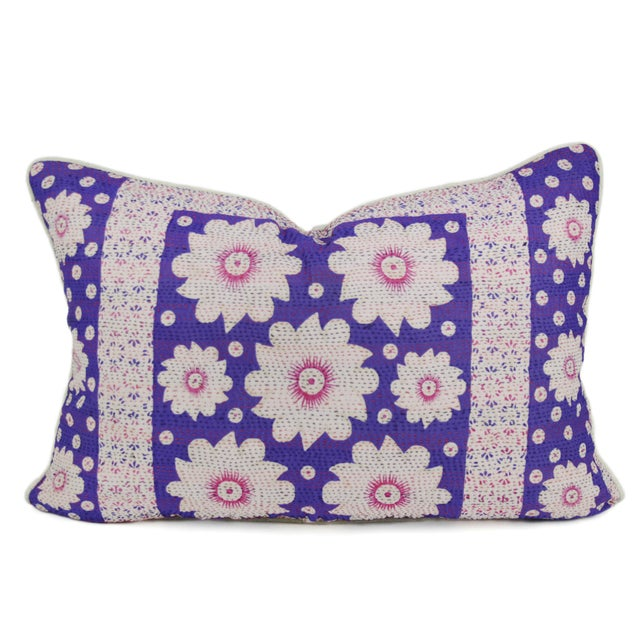 Purple Silk Aubergine Daisy Pillow - Image 1 of 3