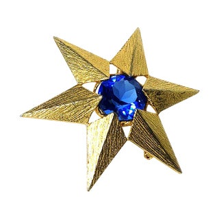 Gold Star Blue Stone Brooch Pendant