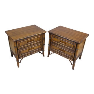 Mid-Century Faux Bamboo Nightstands - A Pair