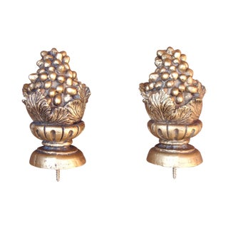 Gold Grapes Carved Giltwood Finials - A Pair
