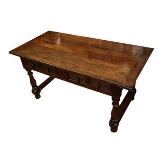 18th Century Spanish Carved Walnut Two-Drawer Console
