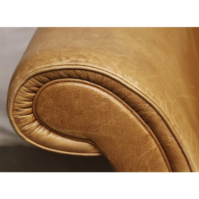 Large Vintage French Camelback Leather Couch - Image 8 of 9