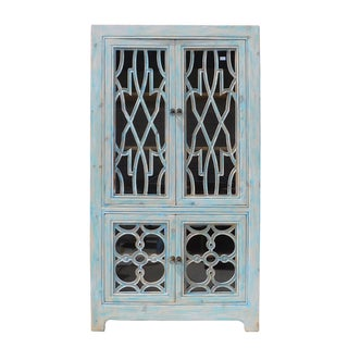 Oriental Shabby Chic Blue Glass China Cabinet