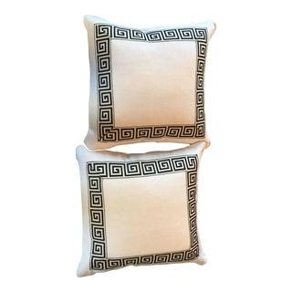 Greek Keys on Off White Linen Pillows - A Pair