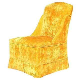 Armless Velveteen Skirted Chair