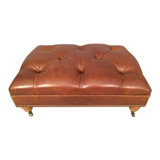Ethan Allen Leather Tufted Ottoman