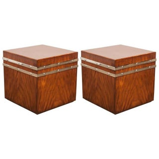 Mahogany Cube Tables with Chrome Strapping - A Pair