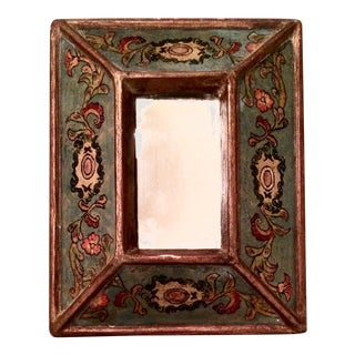 Antique Framed Giltwood Reverse Painted Glass Mirror