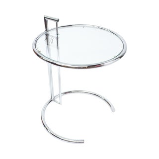 Eileen Gray Modern Chrome & Glass End Table