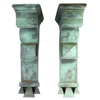 Antique Copper Architectural Brackets - A Pair