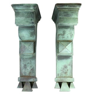 Antique Green Copper Architectural Brackets - a Pair