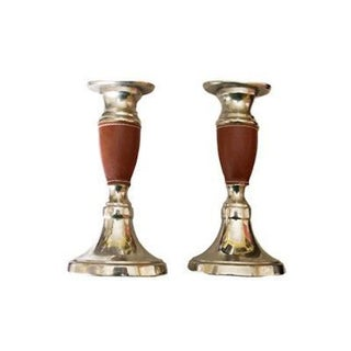 Nickel & Leather Candlesticks - A Pair