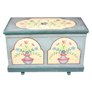 Antique French Hand-Painted Trunk