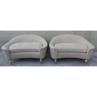 Pair of Art Deco Style Sofas with Silvered Legs