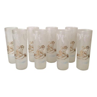 Vintage 1940s Frosted Fairy Glasses - Set of 8