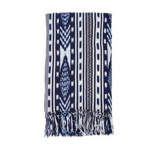 Indigo & White Ikat Guatemalan Blanket