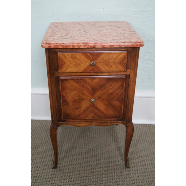 Antique Louis XV Walnut Marble Top Nightstand - Image 2 of 10