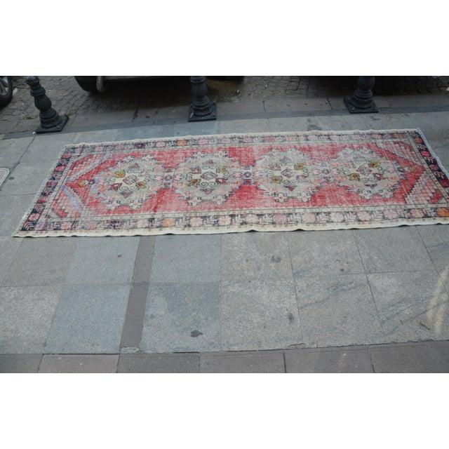 """Turkish Anatolian Vintage Runner -- 3'4"""" x 9'8"""" - Image 3 of 6"""