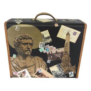 1930s Vintage Vagabond Decoupage Traveler's Suitcase