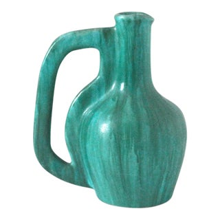 1960s French Turquoise Studio Pottery Pitcher