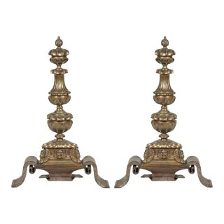 Bronze & Wrought Iron Figural Andirons - A Pair