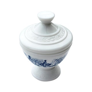 Milk Glass Lidded Trinket Dish With Asian Pattern