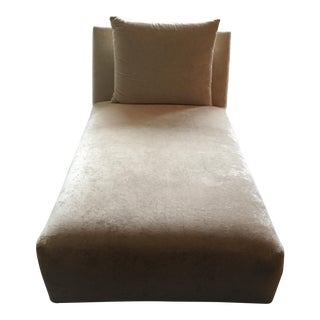 Cream Velvet Chaise Lounge With Pillow
