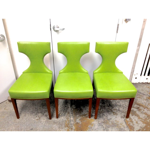 Custom Green Leather Dining Chairs Set Of 3 Chairish