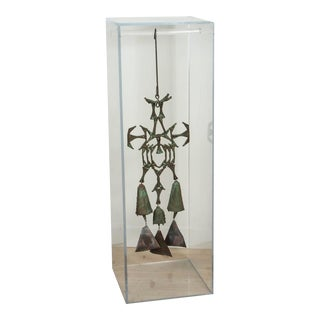 Cast Bronze Figural Three Bell Sculpture with Acrylic Display Case