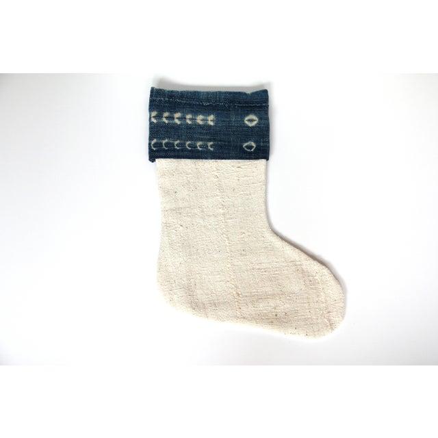 Vintage Indigo and Mudcloth Christmas Stocking - Image 2 of 4