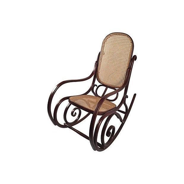 thonet attri caned bentwood rocking chair chairish