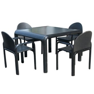 Vintage Knoll Gae Aulenti Dining Table & Leather Chairs