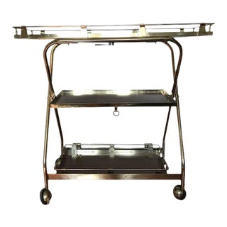 Vintage Collapsible Lufthansa Airline Bar Cart