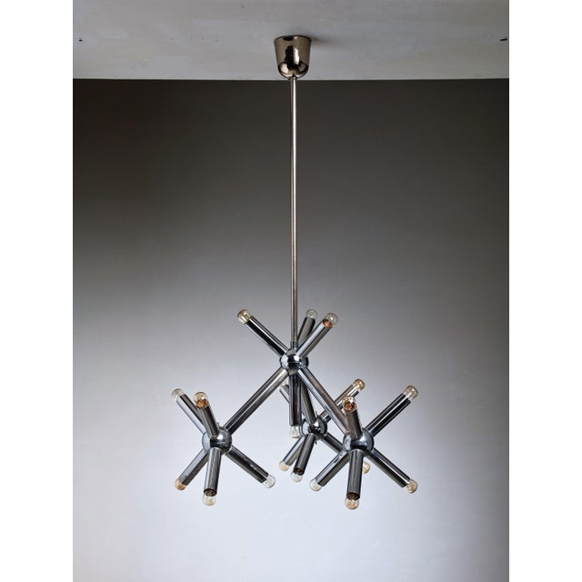 Modernist Metal Chandelier, Germany, 1960s - Image 3 of 3