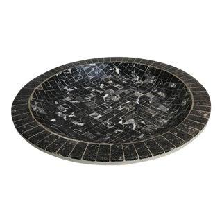 Large Black Mosaic Clay & Black Marble Bowl by Heidi Denmark