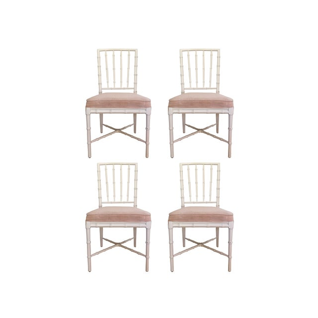 Faux Bamboo Chinese Chippendale Chairs - Set of 4 - Image 4 of 5