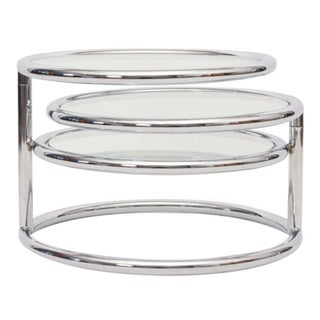 Chrome & Glass Cocktail Table Three Tiered