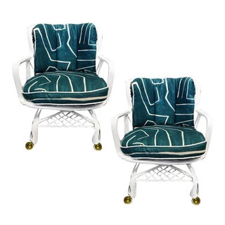 Russel Woodard Chairs in Graffito Upholstery on Casters - a Pair