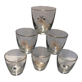 "Vintage ""RX Caduceus"" Medical Apothecary Lo-ball Glasses - Set of 6"