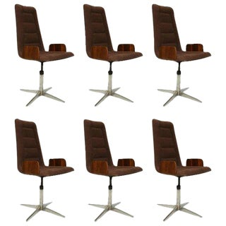Set of Six Sculptural Bent Walnut & Plywood Dining Chairs