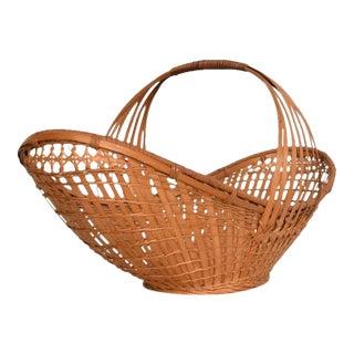 Mid-Century Modern Cane Weaved Basket