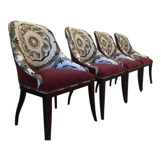 Kravet Castille Burgundy Mohair Seats - Set of 4