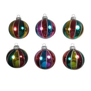 Tri-Colored Stripe Ornaments - Set of 6