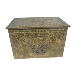 Diminutive Brass Metal Repousse Trunk