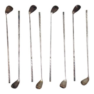 Vintage Silver Golf Club Cocktail Stirrers - Set of 8