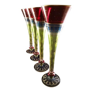 Boho Looking Hollow Stem Champagne Flutes - Set of 4